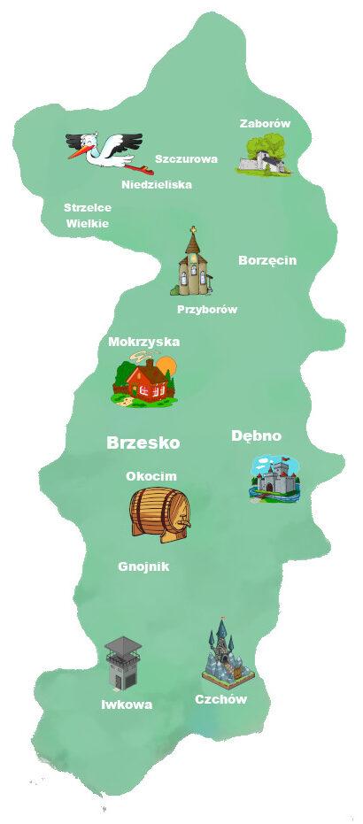 Mapa powiat brzeski